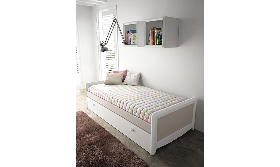 Cama individual con almacenaje best mnido con cajones for Dormitorio juvenil cama nido