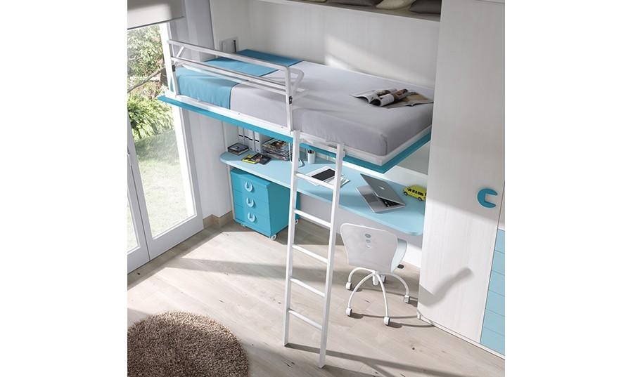 Habitacion con cama abatible awesome cama abatible litera - Dormitorio juvenil doble cama ...
