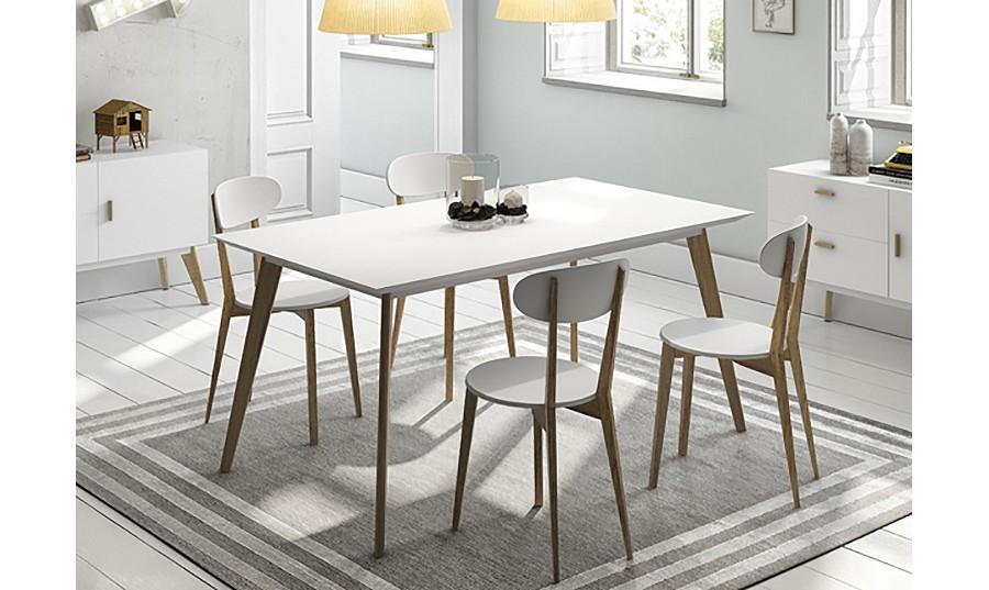 Mesa de comedor blanca y madera casa dise o for Mesa blanca y madera