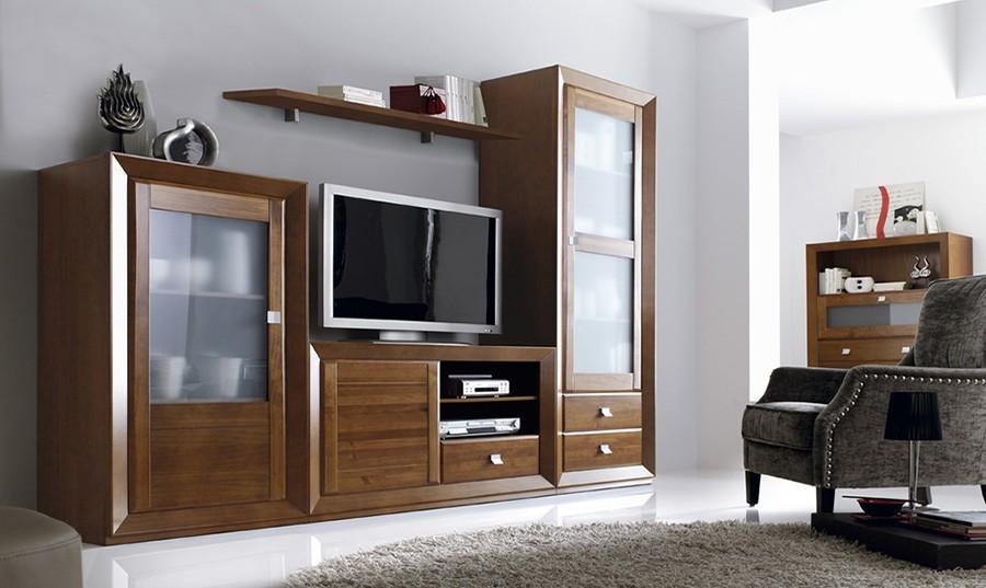 Conjunto de muebles rústicos para salón librería Huesca | Comprar ...