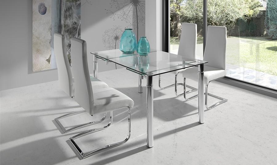 Mesa de comedor extensible de cristal Índora | Comprar Mesas de ...