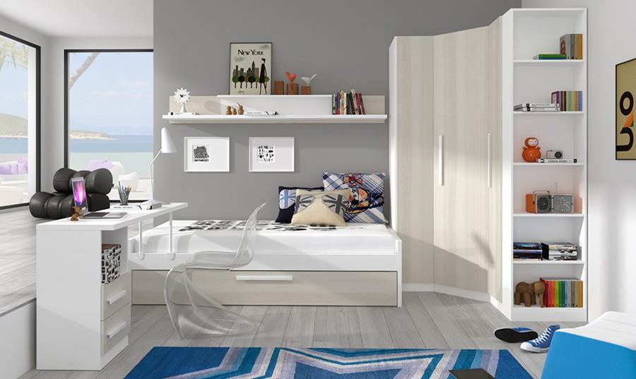 Armario esquinero para dormitorio juvenil Canterbury | Comprar ...