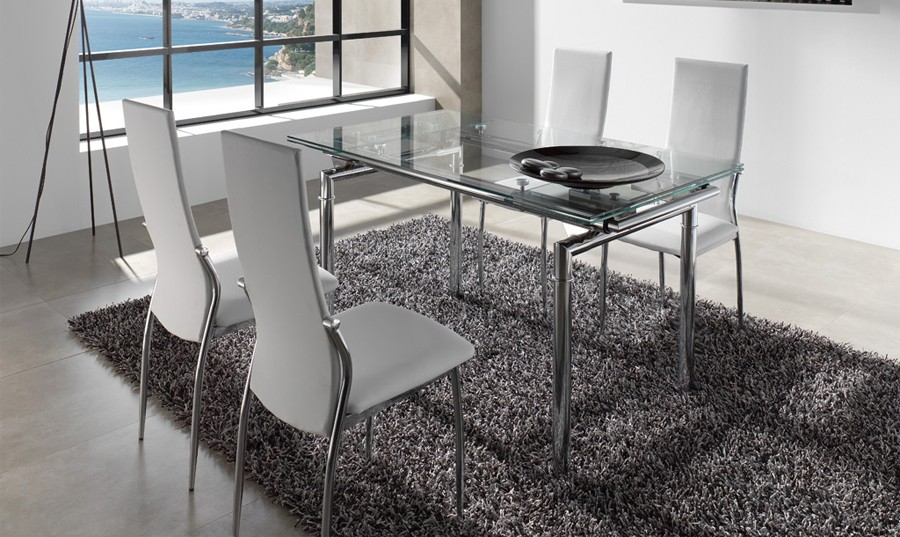 Mesa de comedor extensible de cristal Leyre | Comprar Mesas de ...