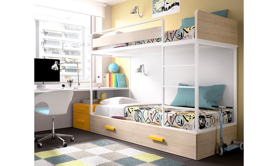 Litera juvenil con tres camas Leo | Comprar Literas en Muebles Rey